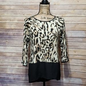 Chico's Animal Print 3/4th Sleeve Blouse